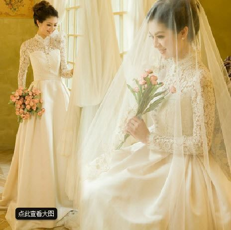 Long Sleeved Mandarin Collar Wedding Dress