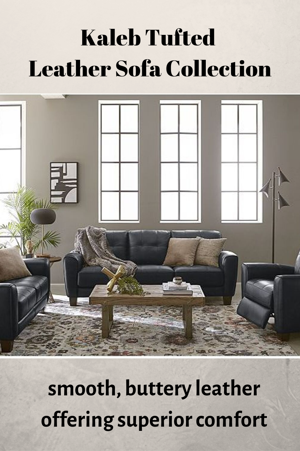 Furniture Kaleb Tufted Leather Sofa Collection Created For Macy S Reviews Furniture Macy S Tufted Leather Sofa Leather Sofa Tufted Leather #tufted #leather #living #room #set