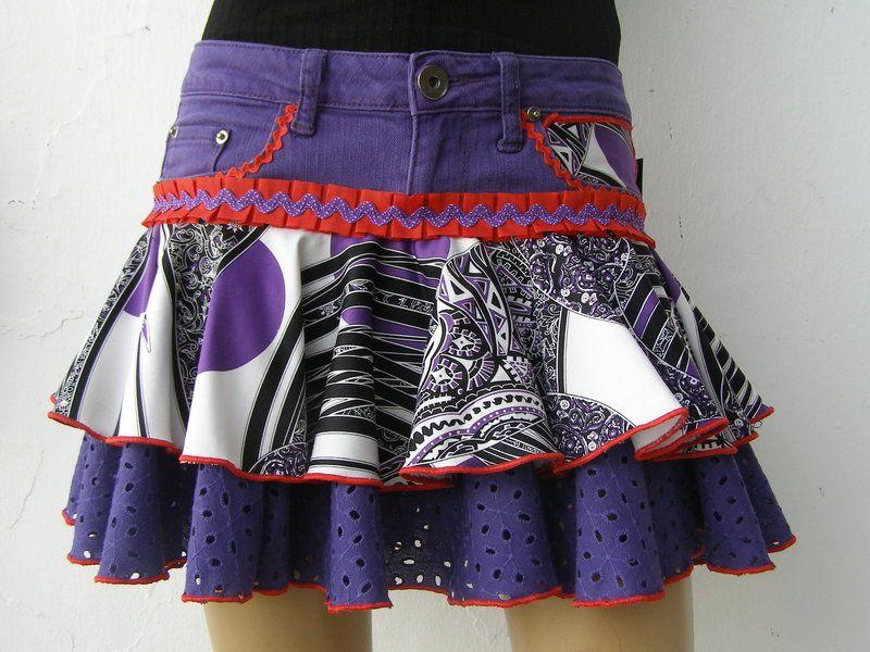 Faldas con volantes - falda morada - hecho a mano por flamenkamelia en DaWanda