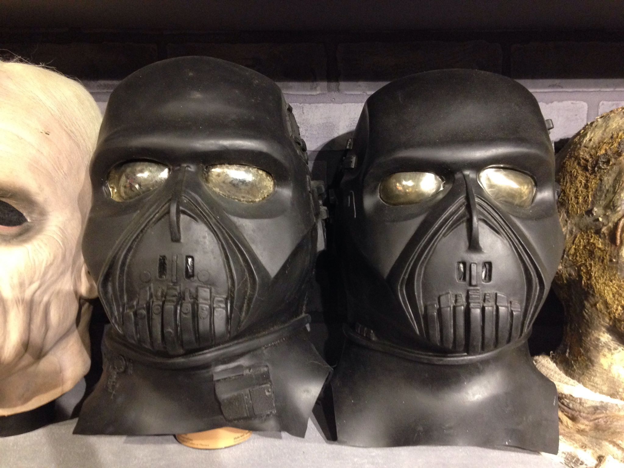 Both versions of the Don Post Studios Death Cyborg masks -The Crimson Ghost Mask Room 2015