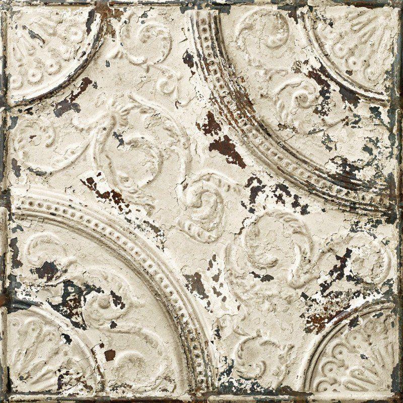 Antiqued Off White Tin Tiles Wallpaper Kitchen Tin