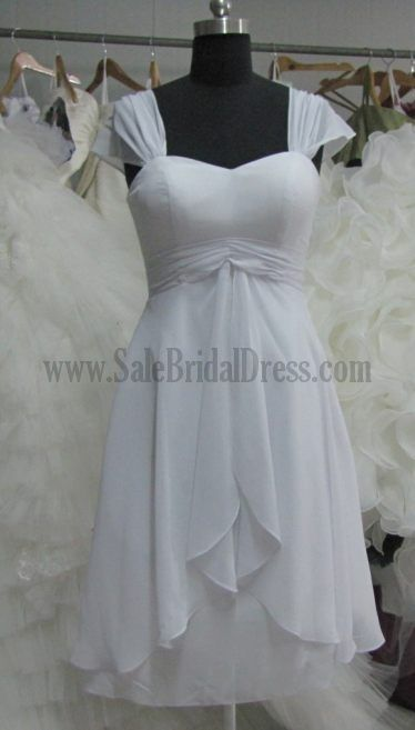 Simple Short Wedding Dresses For The Beach Chiffon Sweetheart Cap ...