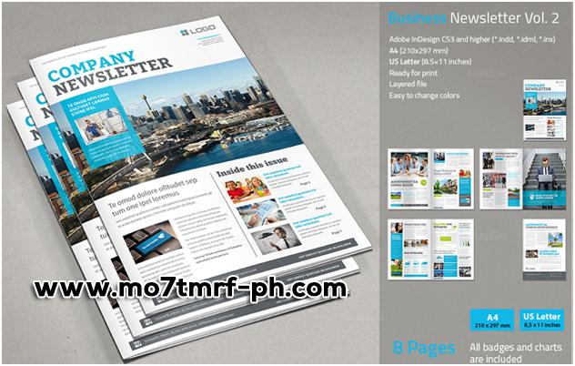 تصميم مجلة احترافية إنديزاين Business Newsletter Business Newsletter Newsletter Design Templates Newsletter Design