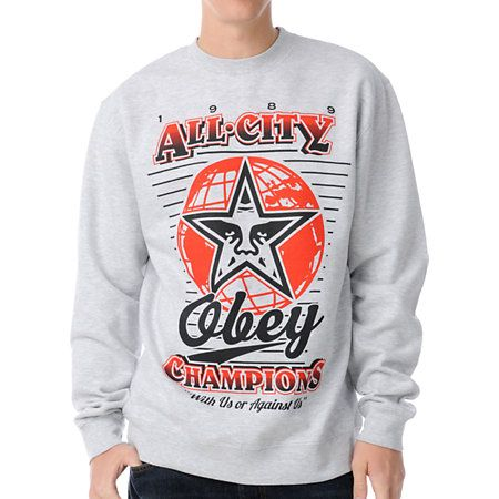 41bdb342 Icon Focus Design : Obey 89 Champs Grey #CrewNeck #Sweatshirt ...