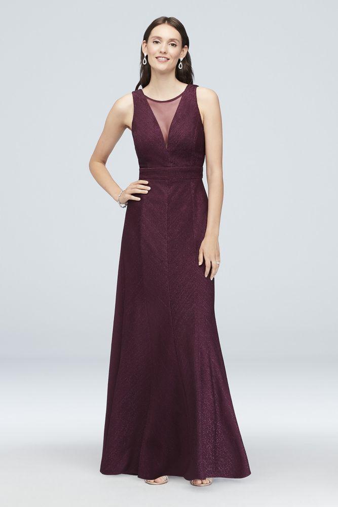 03089da56057 Illusion V-Neck Glitter-Knit Sheath Gown Style 21712D, Wine, 4 in ...