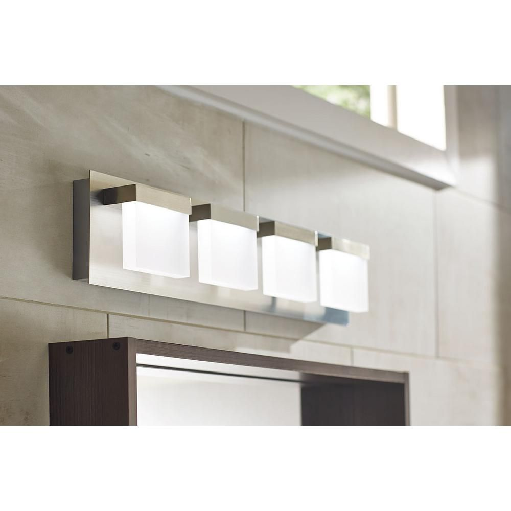 Exceptional Home Decorators Collection Alberson Collection 4 Light Brushed Nickel LED  Bath Bar Light