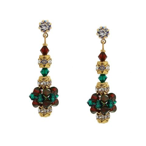 Holiday Crystal Cluster Earrings | Giavan
