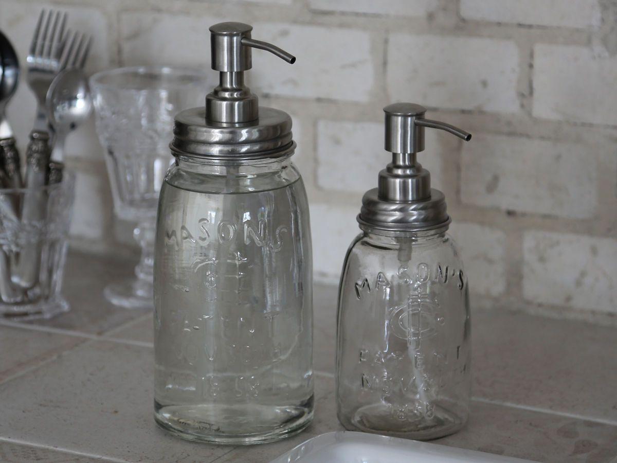 Details zu Chic Antique Seifenspender Spülmittelspender Glas Vintage ...