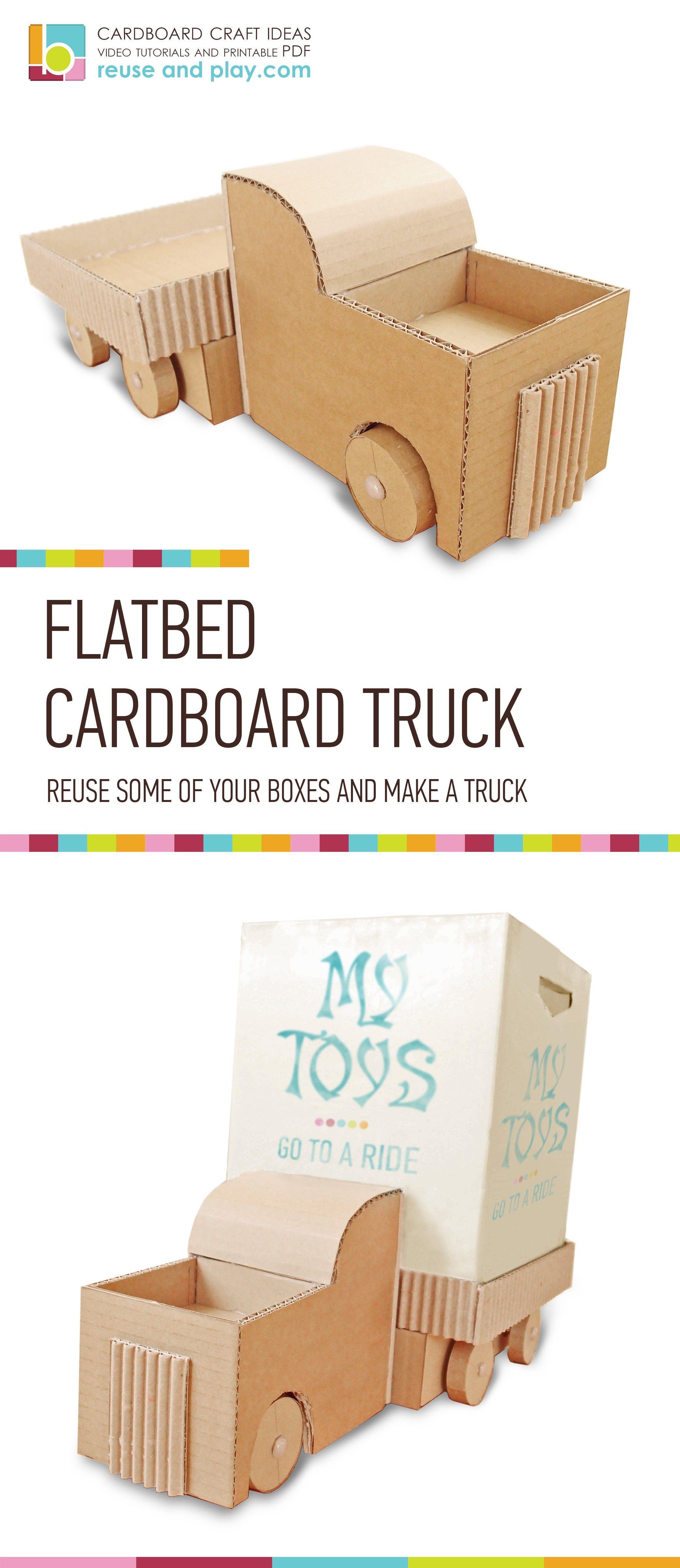 Cardboard Truck Diy Toy Car Organizer Printable Pdf Pattern