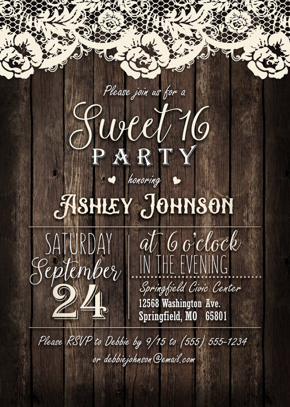 country sweet 16 invitation personalized printable digital file