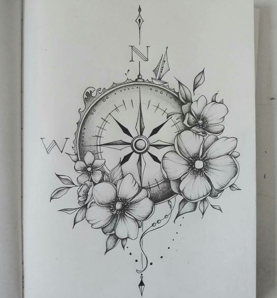 Gorgeous Flower And Compass Tattoos Compasstattoodesign Best
