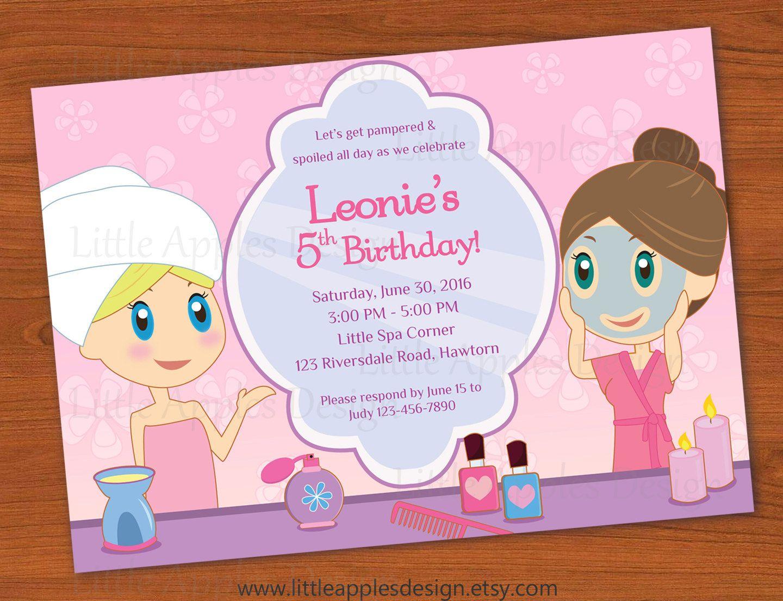 Kids Spa Party Invitation / Girls Spa Party invitation / Spa ...