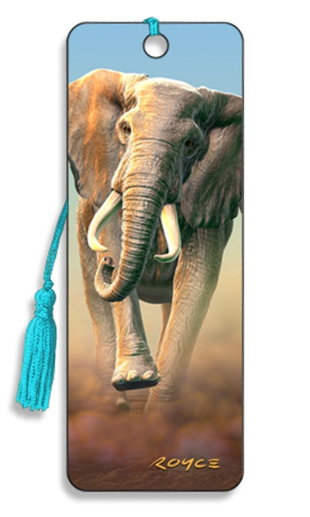 Charging Elephant 3D Lenticular Bookmark by Artgame