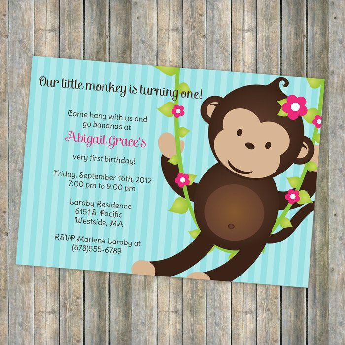 Monkey birthday invitation for little girl, printable, digital file ...
