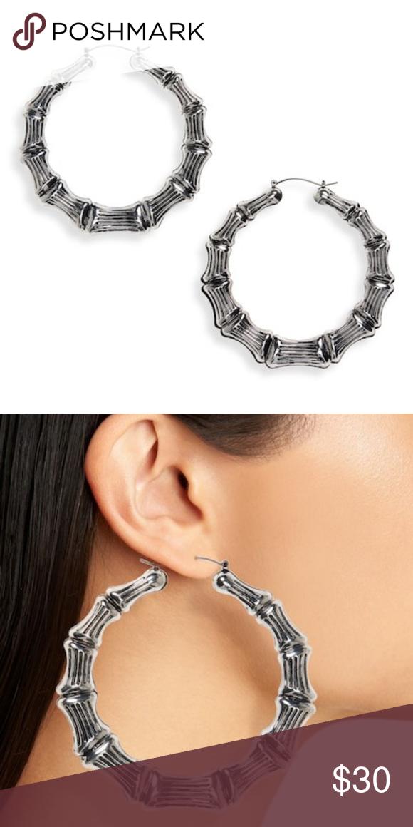 KITSCH HAIR TIES Bamboo Hoop Earrings Chunky hoops resembling bamboo stalks  make a glamorously bold statement. - 3 1 2
