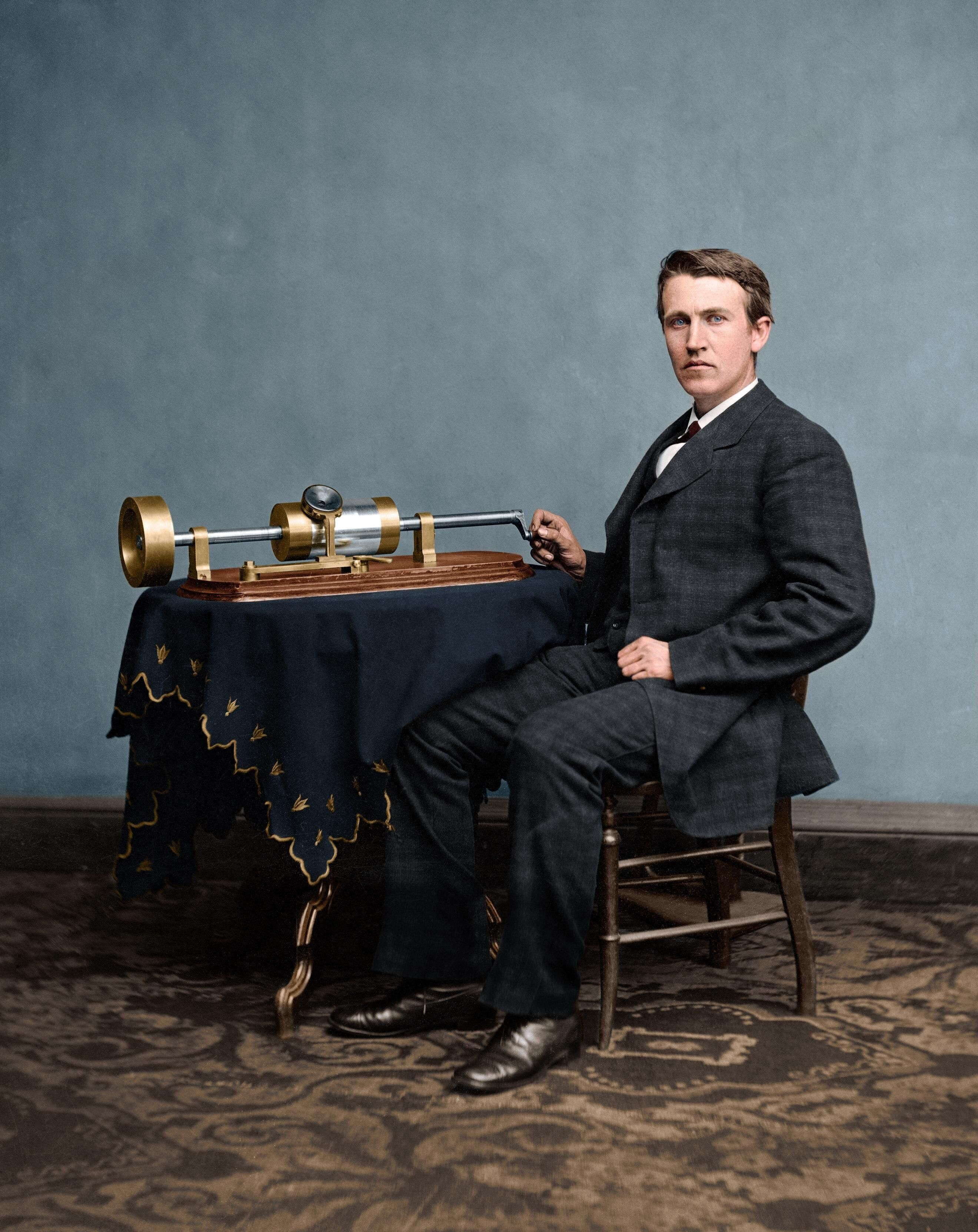 Thomas Edison with his second phonograph taken by Mathew Brady in 1878