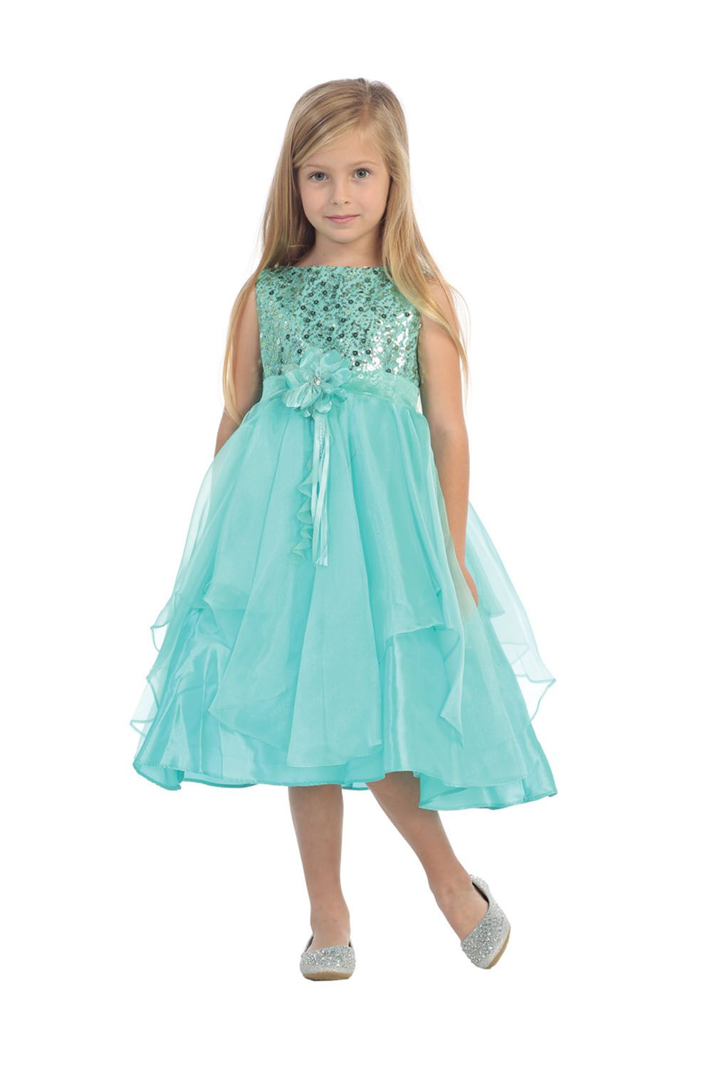 Tiffany blue sequined bodice with organza layered flower girl tiffany blue sequined bodice with organza layered flower girl dress ombrellifo Choice Image