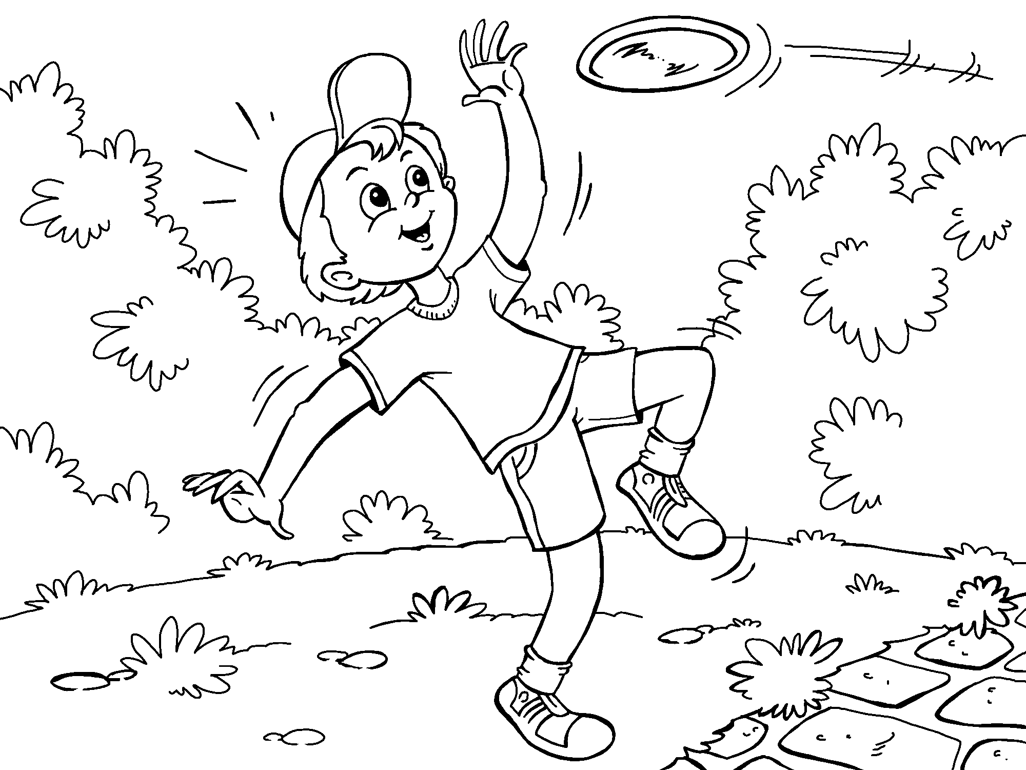 Boy Frisbee Coloring Page Online Coloring Pages Online Coloring Kids Playing