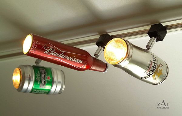 Beer Can Track Lighting Heads..freekin awesome for a man cave!