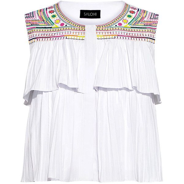 Saloni - Cleo Embroidery Ruffle Cropped Top (€285) ❤ liked on Polyvore featuring tops, crop top, shirts, embroidered crop top, shirt crop top, rainbow crop top, flounce tops and boxy crop top