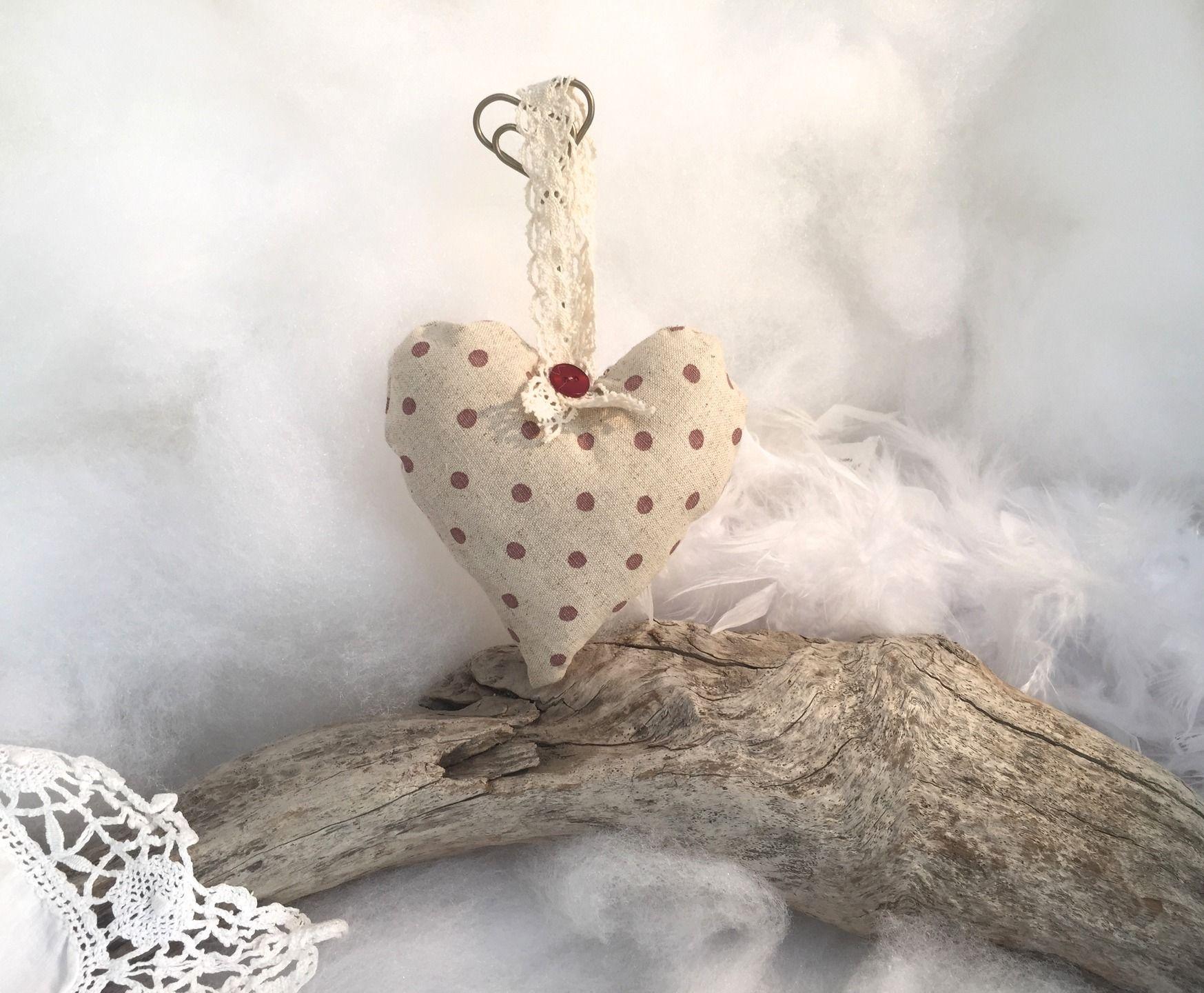 Coeur tissu lin à pois vieux rose \