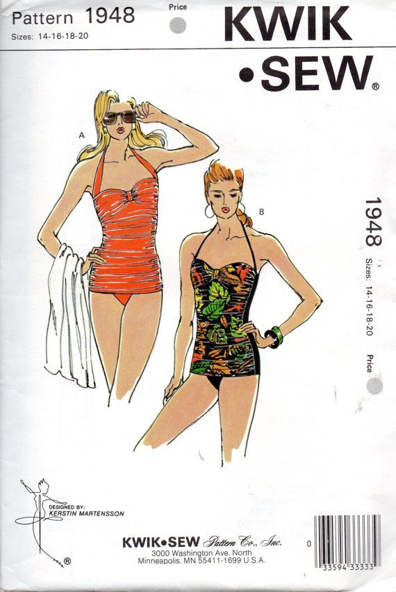 1980s Kwik Sew 1948 Misses Ruched Swimsuit Pattern Gathered Front ...