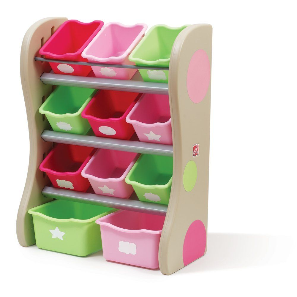 Step2 Fun Time Room Organizer Toy Storage For Kids Durable Bins Shelves Toys Books And Crafts Pink
