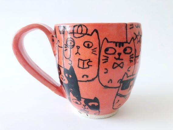 Cartoon cats mug, unicorn cat mug, anime cats mug , orange cats cup, cat decals cup, cat detective, xmas, christmas gift, espresso cat mug
