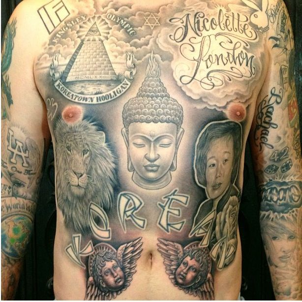 Chest Left lower arm Left upper arm Right lower arm Right upper arm Stomach tattoo