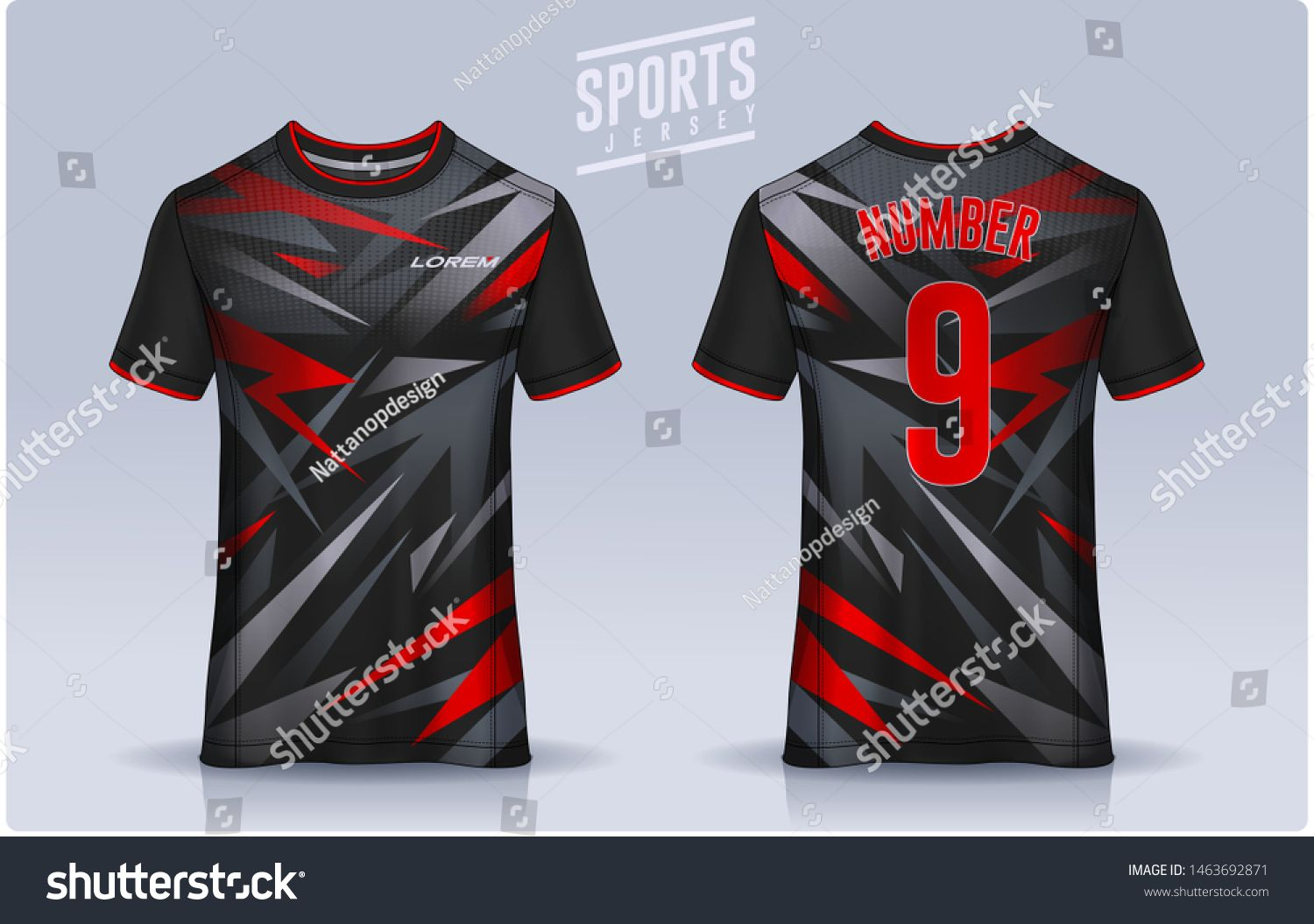 Download T Shirt Sport Design Template Soccer Jersey Mockup For Football Club Uniform Front And Back Vi Sports Jersey Design Sports Tshirt Designs Rugby Jersey Design