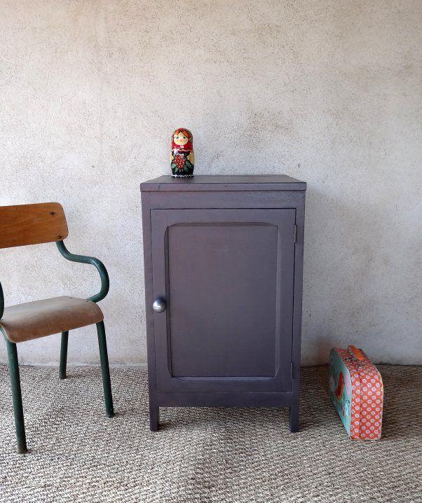 chouette couleur  Chevet ou meuble rétro aubergine et gris souris