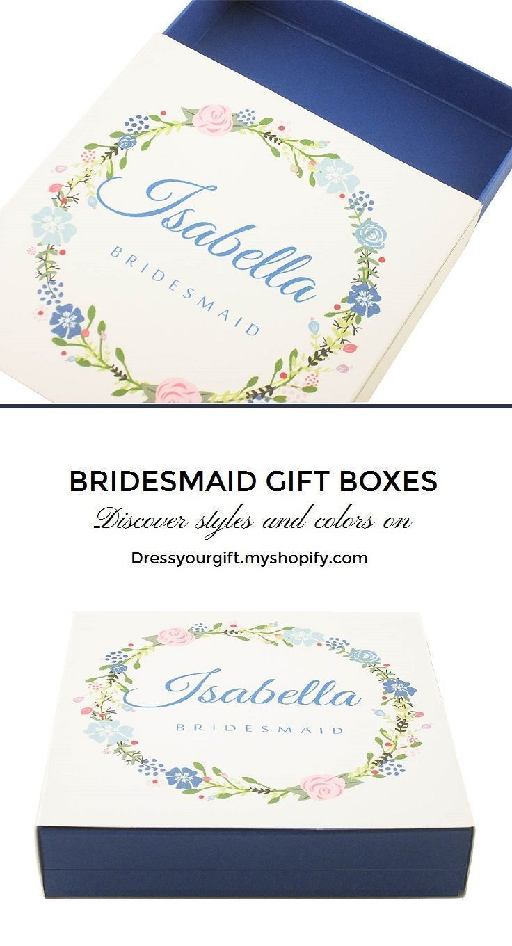 personalized blue bridesmaid favor box slider box floral themed ...