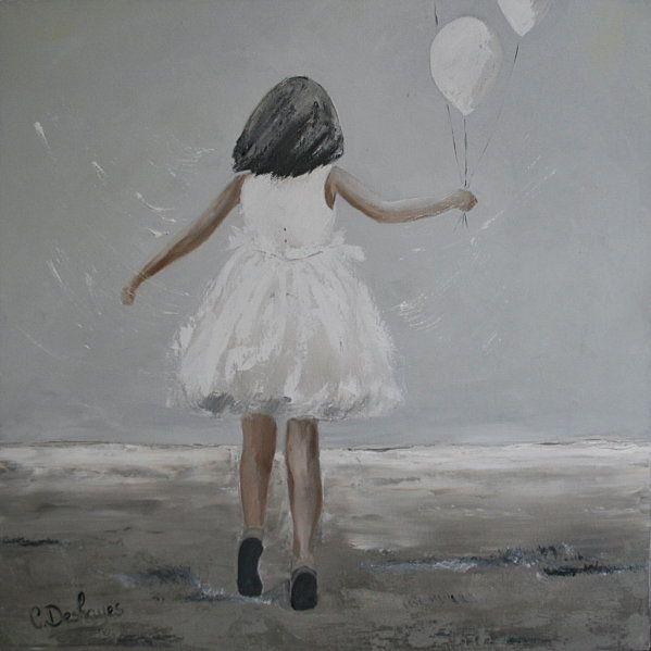 fillette aux ballons vendu c line deshayes tableau peinture peinture et peinture acrylique. Black Bedroom Furniture Sets. Home Design Ideas