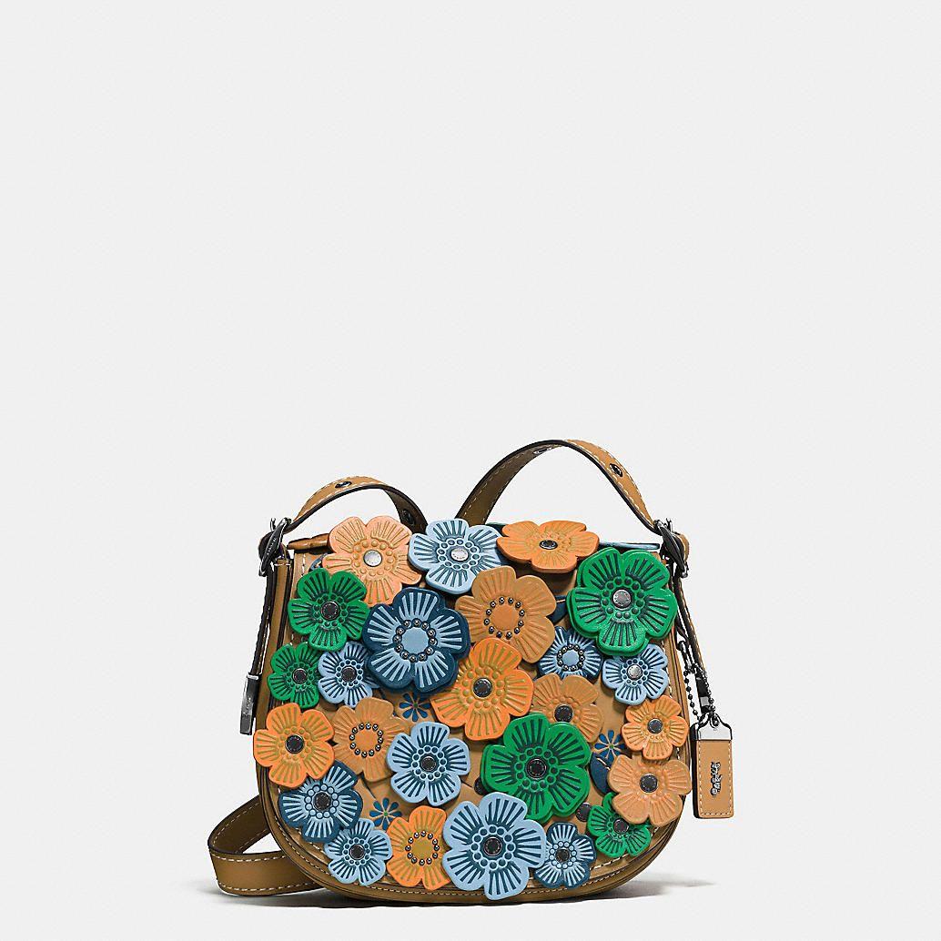 8d9a4cd32f63 Coach Tea Rose Applique Saddle Bag 23 in Leather