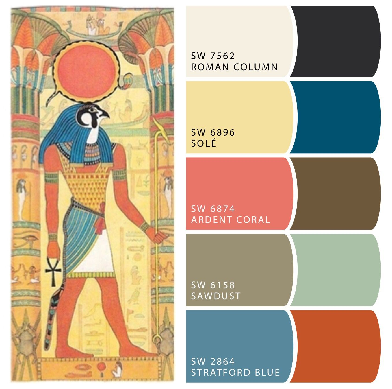 Ancient Egyptian Color Palette Egyptian Blue Irtiu Sbedj Was Made Combining Iron And Copper Oxides With Silica And Cal Egypt Egyptian Party Ancient Egypt