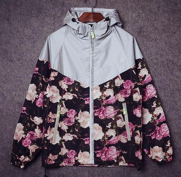 Mens Floral Camouflage Windbreaker Hooded Lightweight Zip-up Jacket with Hood