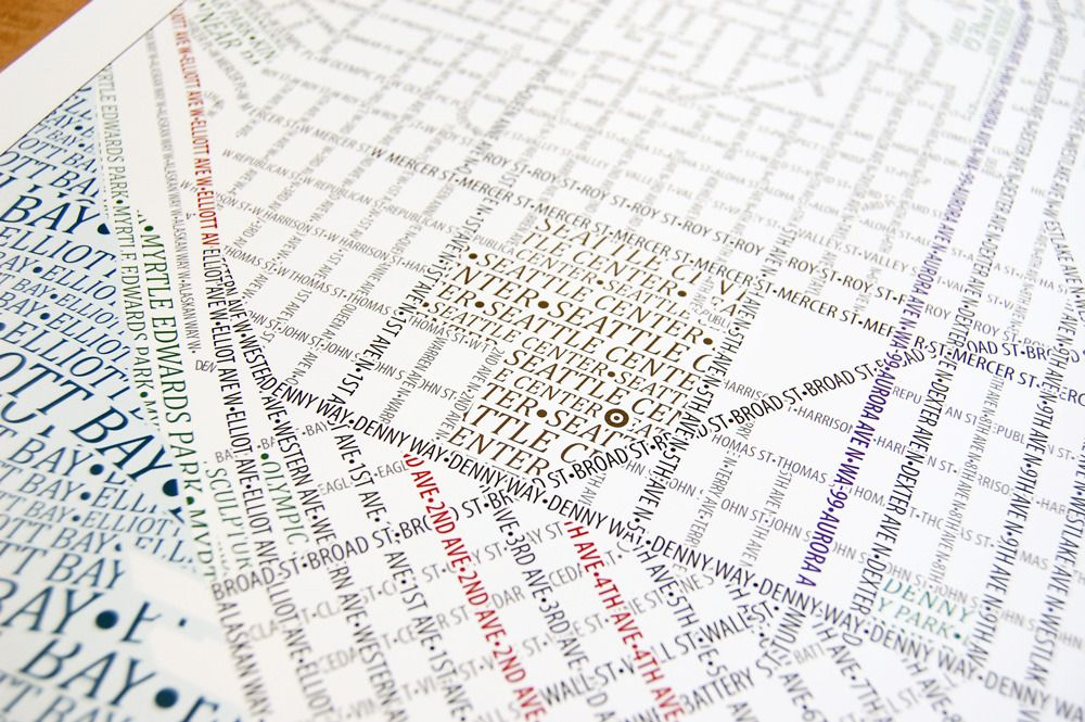 Typographic map of Seattle (With images) Map