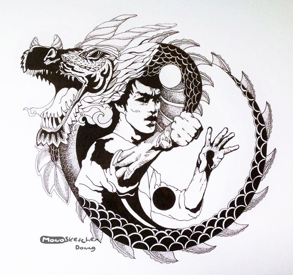 Dragon Spirits The Legend Bruce Lee Monosketcher Brucelee Doodle Ink Sketch Colouringbook Cartoon Clip Art Ink Sketch Black And White Cartoon