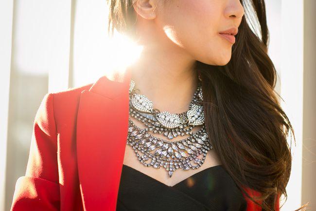 Scarlet :: Red blazer & Layered necklaces : Wendy's Lookbook