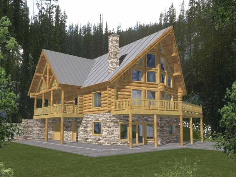 Log Style House Plan 4 Beds 3 Baths 3725 Sq Ft Plan 117 415 Log Cabin House Plans A Frame House Plans Log Cabin Floor Plans