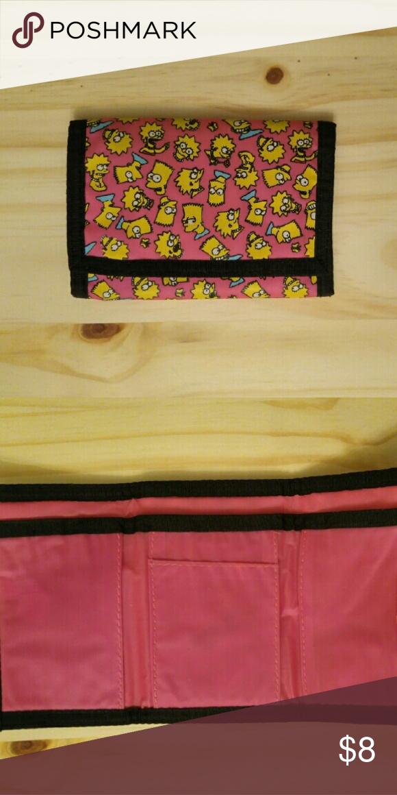 Smipsons wallet. Vintage pink Bart & Lisa velcro wallet. Bags Wallets