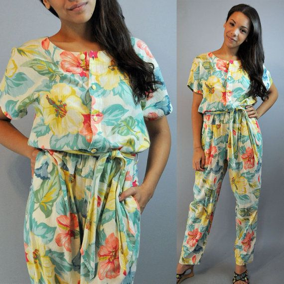 fc46916bb3be 80s JUMPSUIT   Womens Vintage Jumpsuit   Retro Print Floral Summer ...