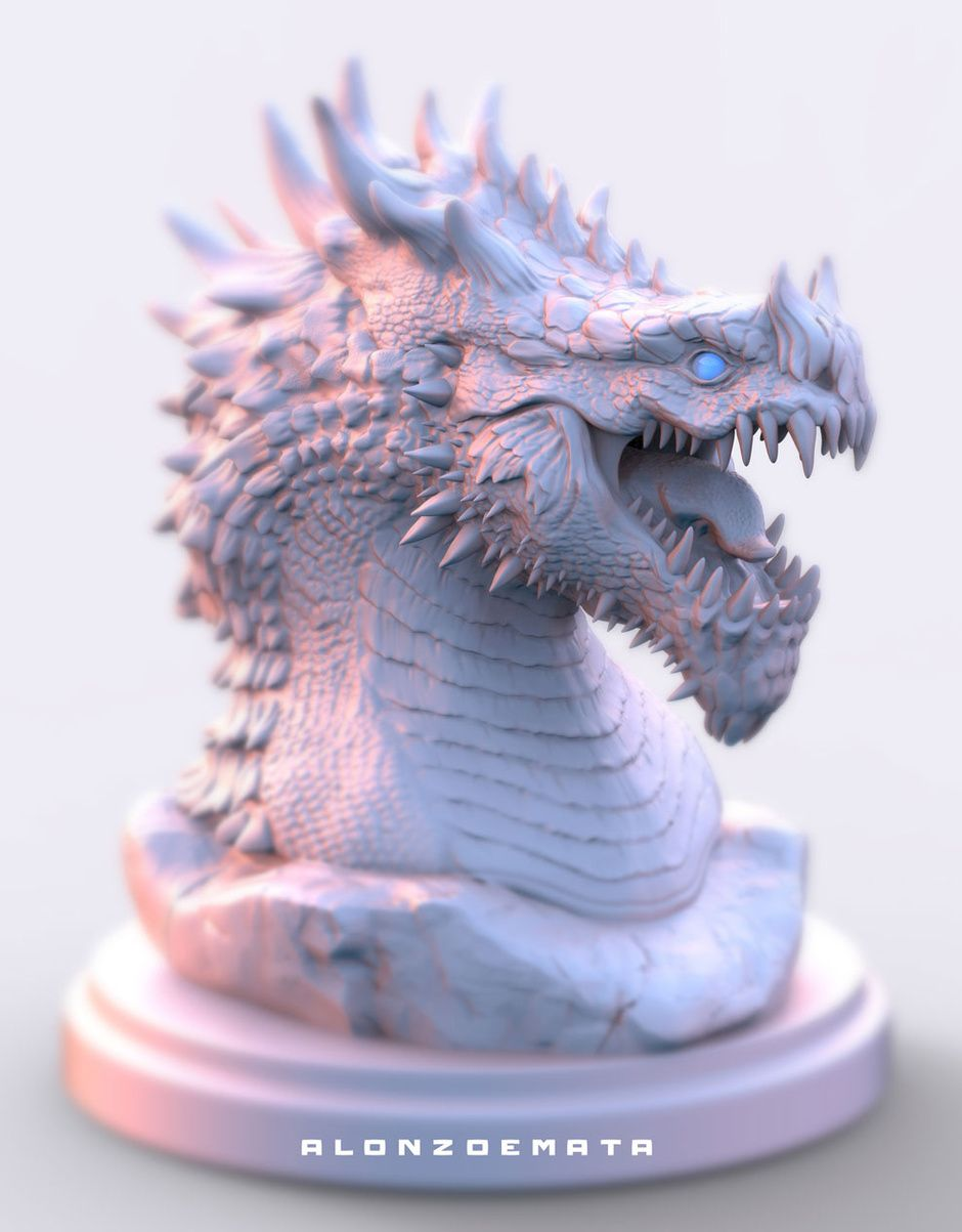 Dragon Statue by Alonzo Emata | Creatures | 3D | CGSociety