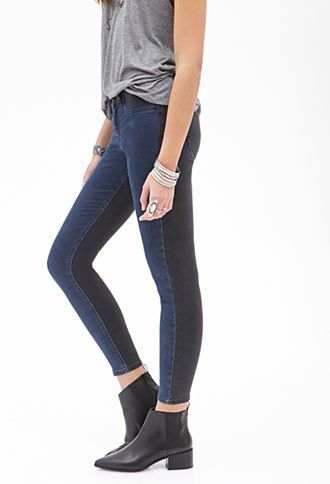 a0698511bc64e Low-Rise - Two-Tone Skinny Jeans | FOREVER21 - 2000057856 | LooKbook ...