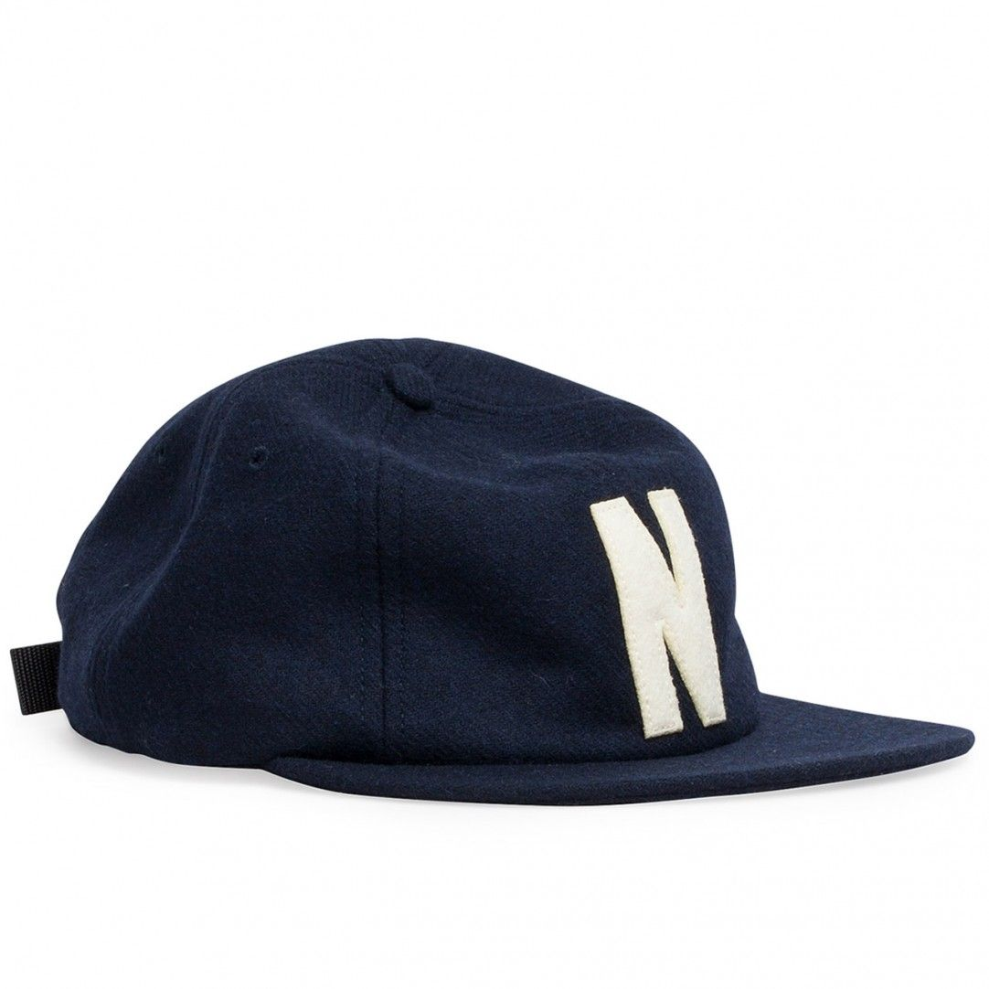 e3a0fb40004 Norse Projects 6 Panel N Wool Flat Cap (Dark Navy)