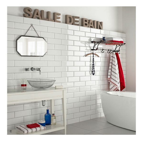 Supersized Metro Brick Tiles Brick Style Tiles White Bathroom Tiles Topps Tiles