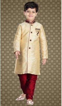 07aeef58e5bec Cream Color Art Silk Readymade Boys Churidar Kurta | FH508477456 ...