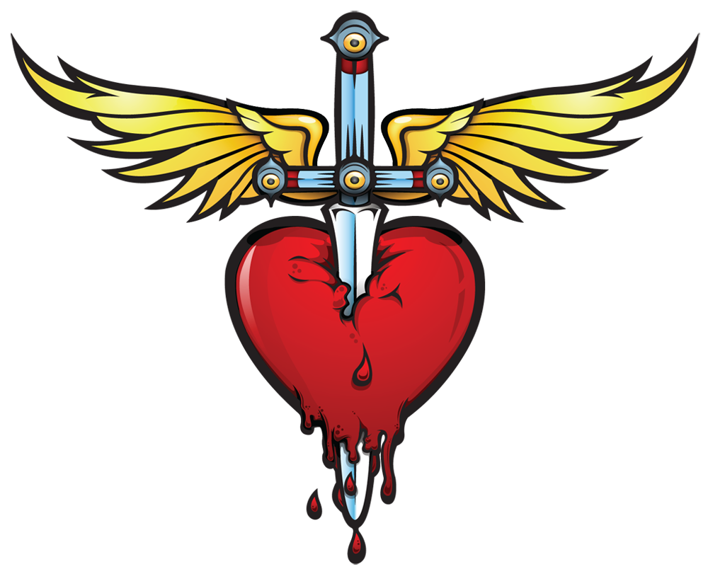 Heart and dagger bonjovi tatoos pinterest tattoo for Slippery when wet tattoo