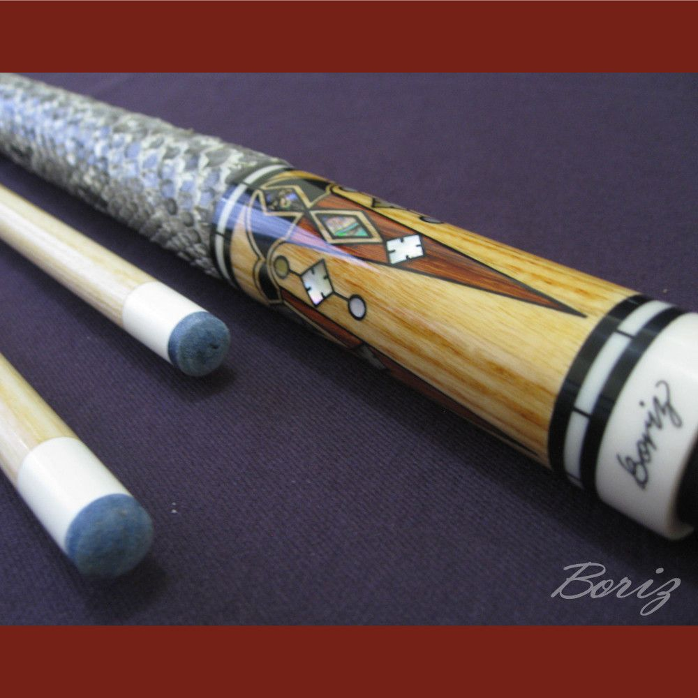 Boriz Billiards Snake Skin Grip Pool Cue Stick Original Inlays New