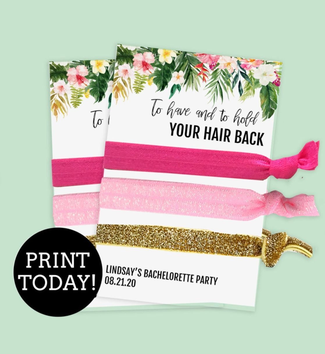 Tropical Hair Tie Favors Card Template Diy Hair Tie Favor Etsy In 2021 Tropical Bachelorette Party Bachelorette Party Favors Diy Bachelorette Party